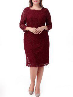 Midi Plus Size Lace Sheath Cocktail Dress - Deep Red 7xl