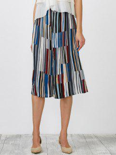 Striped Pleated Crop Wide Leg Palazzo Pants - Blue