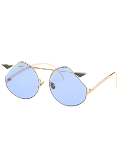 Metal Crossbar Cat Eye Sunglasses - Gole Frame + Blue Lens