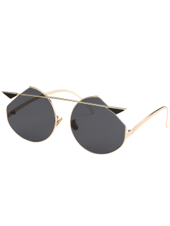 Metal Crossbar Cat Eye Sunglasses - Golden+grey