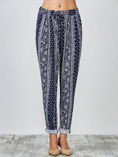 Pantalon Carotte à Motif Cachemire Et Poignets Roulés - Bleu S