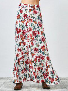 Button Up Floral Maxi Skirt - White S