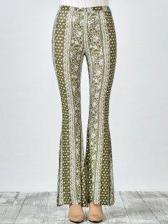 Printed Flare Pants - Olive Green S