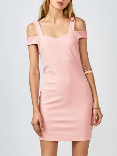 Cold Shoulder Bodycon Dress - Pink S
