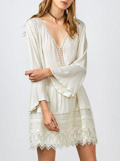 Belled Sleeve Crochet Trim Shift Dress - White S