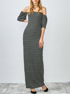 Striped Off The Shoulder Long Dress - White And Black S