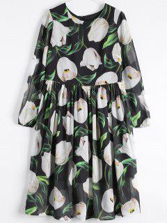 Long Sleeve Chiffon Floral Flowing Dress - Black Xl