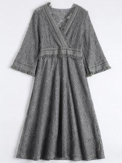 Guipure Lace Midi Flared Swing Dress - Gray Xl