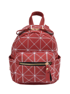 Faux Leather Rhombus Mini Backpack - Red