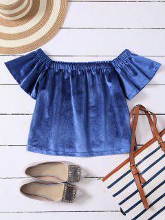 Off The Shoulder Velvet Loose T-Shirt - Blue L