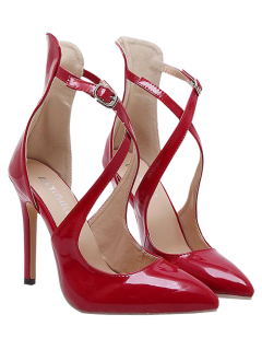 Pointed Toe Mini Heel Cross Strap Pumps - Red 40