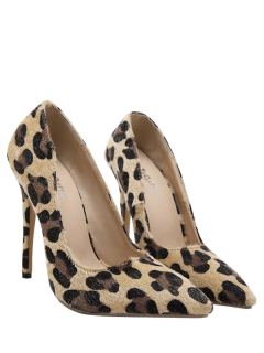 Mini Heel Leopard Print Pointed Toe Pumps - Leopard 40
