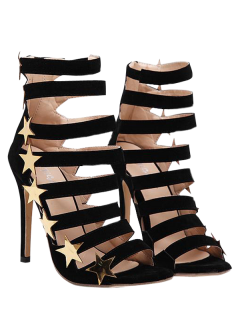 Zipper Star Hollow Out Sandals - Black 40