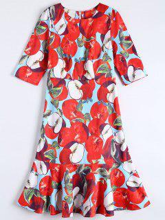 Ruffle Hem Midi Sheath Dress - Red L