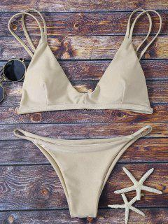 Bralette Bikini Top And String Bottoms - Khaki S