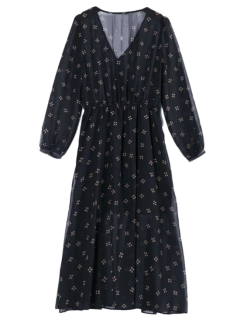 Printed Plunging Neck Chiffon Surplice Dress - Black L