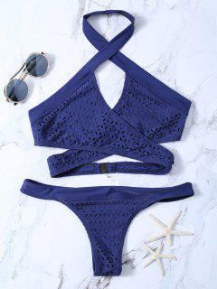 Cutout Eyelets Wrap Bikini - Purplish Blue Xl
