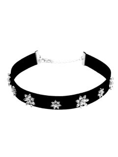 Floral Artificial Leather Velvet Choker Necklace - Black