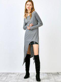 Slash Neck Irregular Hem Loose Dress - Gray L