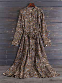 Chiffon Tiny Floral Swing Shirt Dress - Coffee 2xl