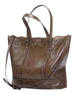 Faux Leather Hollow Out Tote Bag - Brown