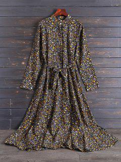 Gasa Vestido Floral De La Camisa Tiny - Negro 2xl