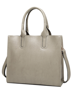 PU Leather Tote Bag - Light Grey