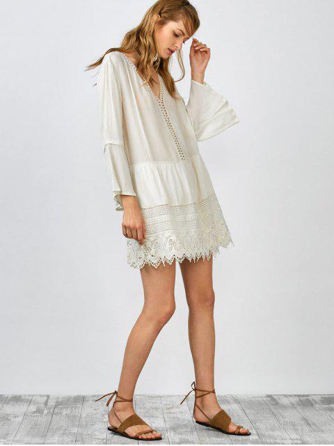fancy Belled Sleeve Crochet Trim Shift Dress - WHITE L Mobile
