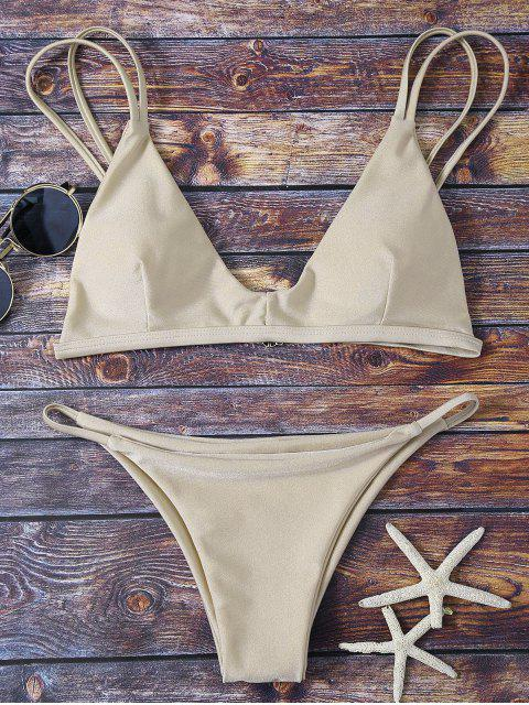 hot Bralette Bikini Top and String Bottoms - KHAKI S Mobile