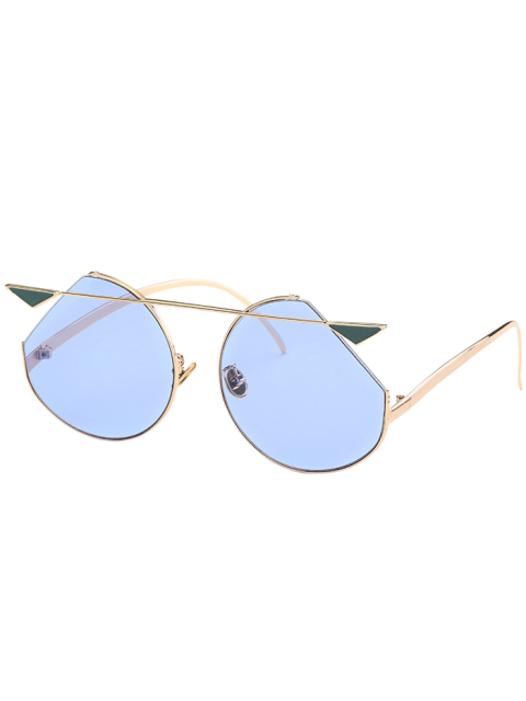Metal Crossbar Gafas de sol Cat Eye - Marco de Oro + Lente Azul  Mobile