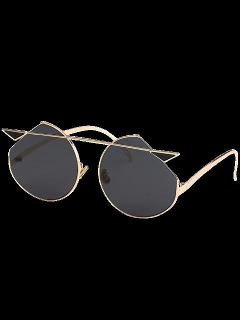 lady Metal Crossbar Cat Eye Sunglasses - GOLDEN+GREY  Mobile