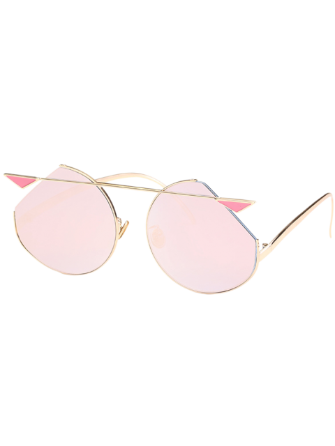 Metal Crossbar Gafas de sol Cat Eye - Marco de Oro + Lente Rosa  Mobile