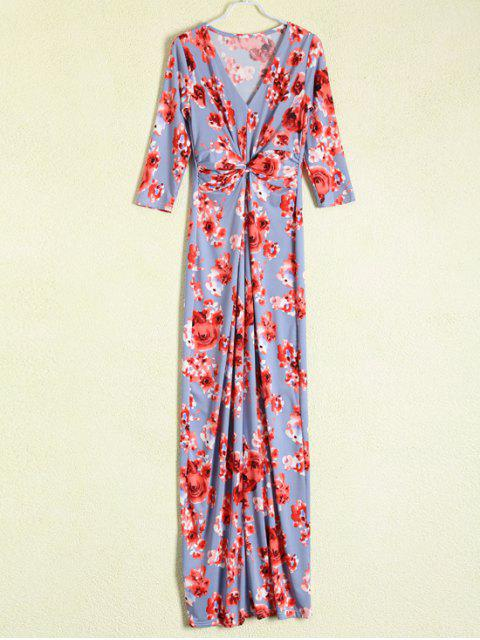 outfits Gathered Front Maxi Floral Dress - BLUE GRAY M Mobile