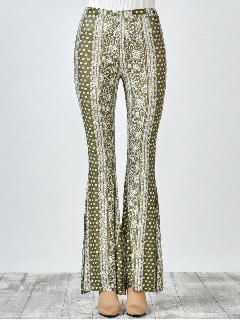 ladies Printed Flare Pants - OLIVE GREEN M Mobile