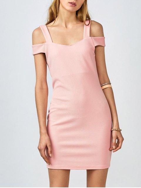 affordable Cold Shoulder Bodycon Dress - PINK L Mobile