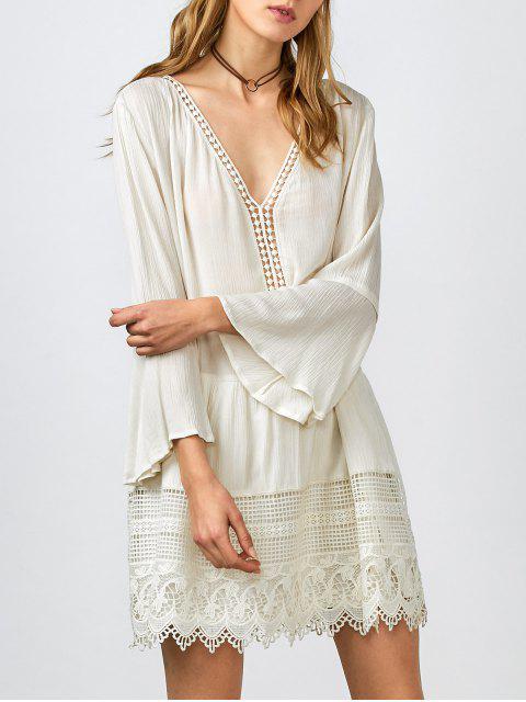 sale Belled Sleeve Crochet Trim Shift Dress - WHITE S Mobile