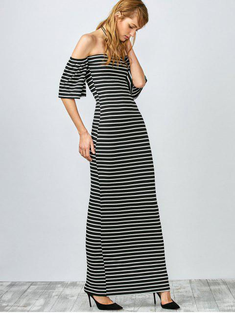 fashion Striped Off The Shoulder Long Dress - WHITE AND BLACK L Mobile
