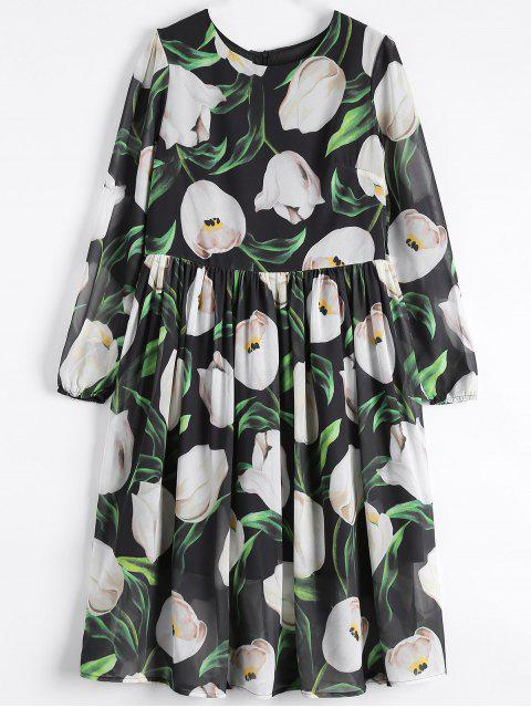 buy Long Sleeve Chiffon Floral Flowing Dress -   Mobile