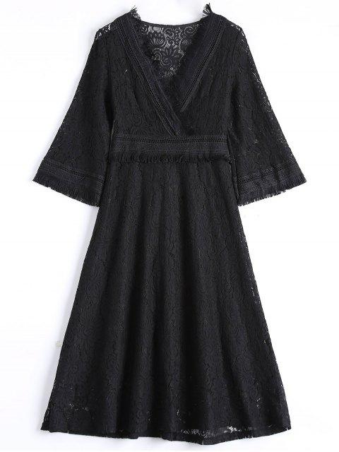 ladies Guipure Lace Midi Flared Swing Dress - BLACK L Mobile