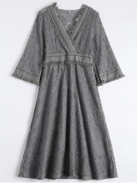 lady Guipure Lace Midi Flared Swing Dress - GRAY S Mobile