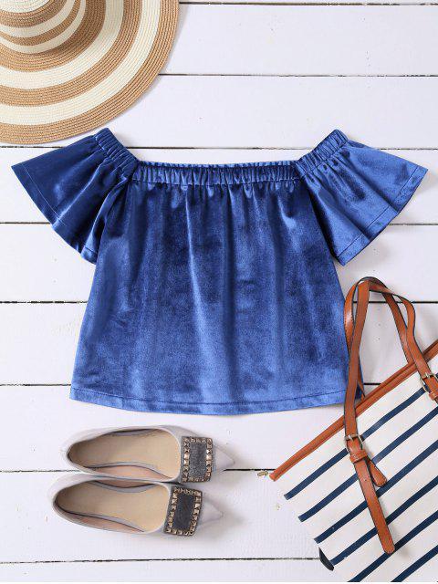 online Off The Shoulder Velvet Loose T-Shirt - BLUE S Mobile