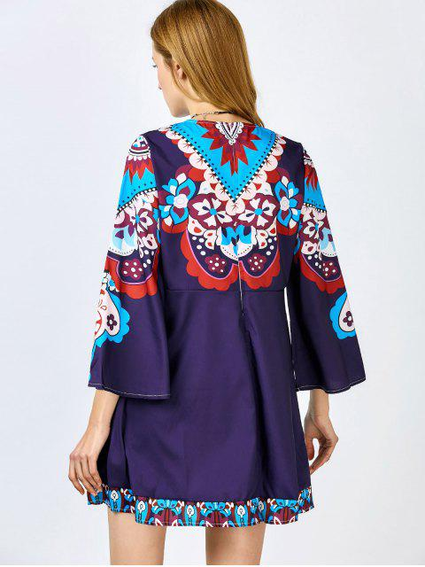 ladies Print Round Neck Nine-Minute Sleeve Dress - PURPLISH BLUE XL Mobile