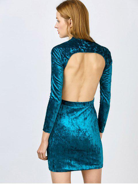 unique Pluging Neck Cutout Velvet Dress - BLUE M Mobile