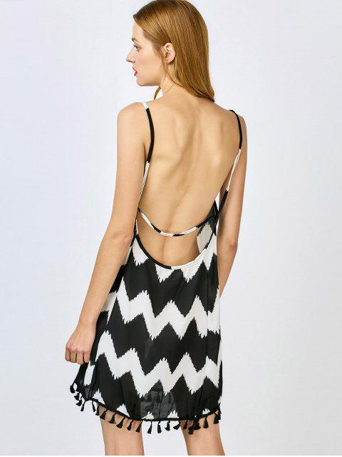 lady Zig Zag Spaghetti Straps Tassels Spliced Dress - BLACK S Mobile