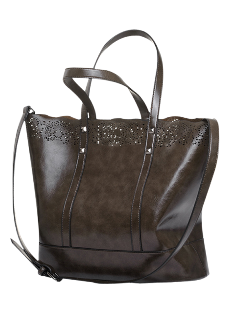 fashion Faux Leather Hollow Out Tote Bag - DEEP BROWN  Mobile