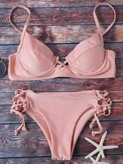 Cami Lace Up Bikini - Pink M