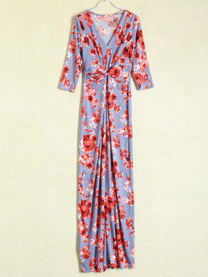 Vestido Floral Maxi Frente Reunidos - Azul Gris S