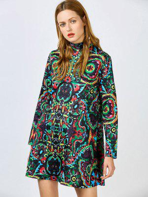Stand Neck Colorful Flare Dress
