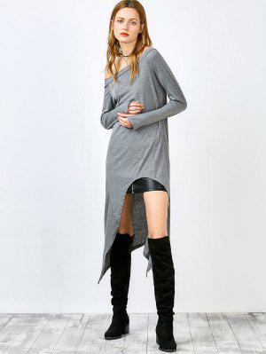 Slash Neck Irregular Hem Loose Dress