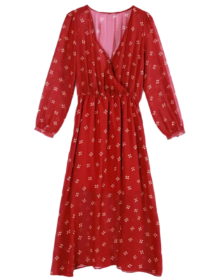 Hundiendo Impresa Gasa Del Cuello Del Vestido Sobrepelliz - Rojo S